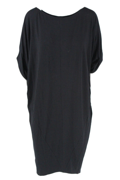 maria cornejo black dolman sleeve sack dress. featuring scoop neck, seam details, and short sleeves.