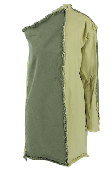 ashley rowe green one shoulder dress. features two tone green patchwork and frayed denim details throughout.