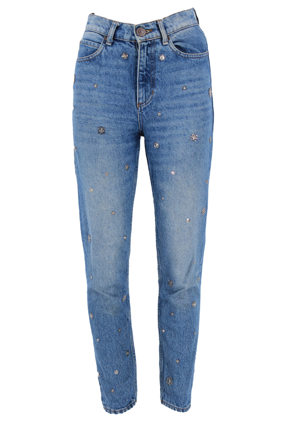 sandro blue jeans with embellishments. features high rise, silver charms throughout front of jeans and exterior pockets.