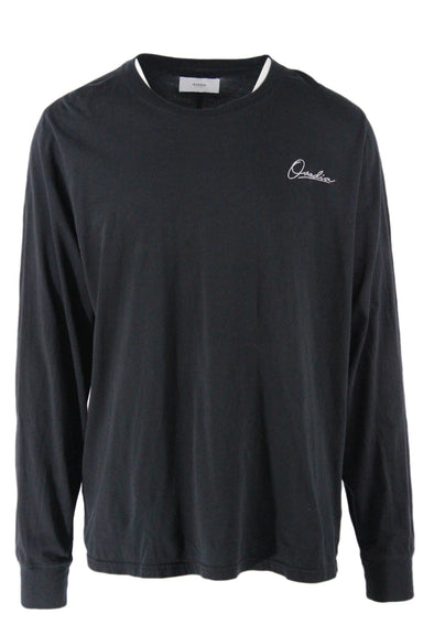 ovadia & sons black long sleeve cotton t-shirt. features silver embroidered 'ovadia' signature at chest and back center seam detail. ribbed crewneck and cuffs, boxy cut.