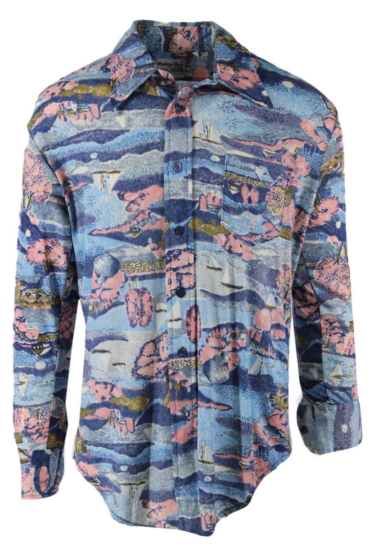 vintage 70's century plaza blue/pink/multi long sleeve button up shirt. features abstract sailboat scene throughout with pockets at left breast.