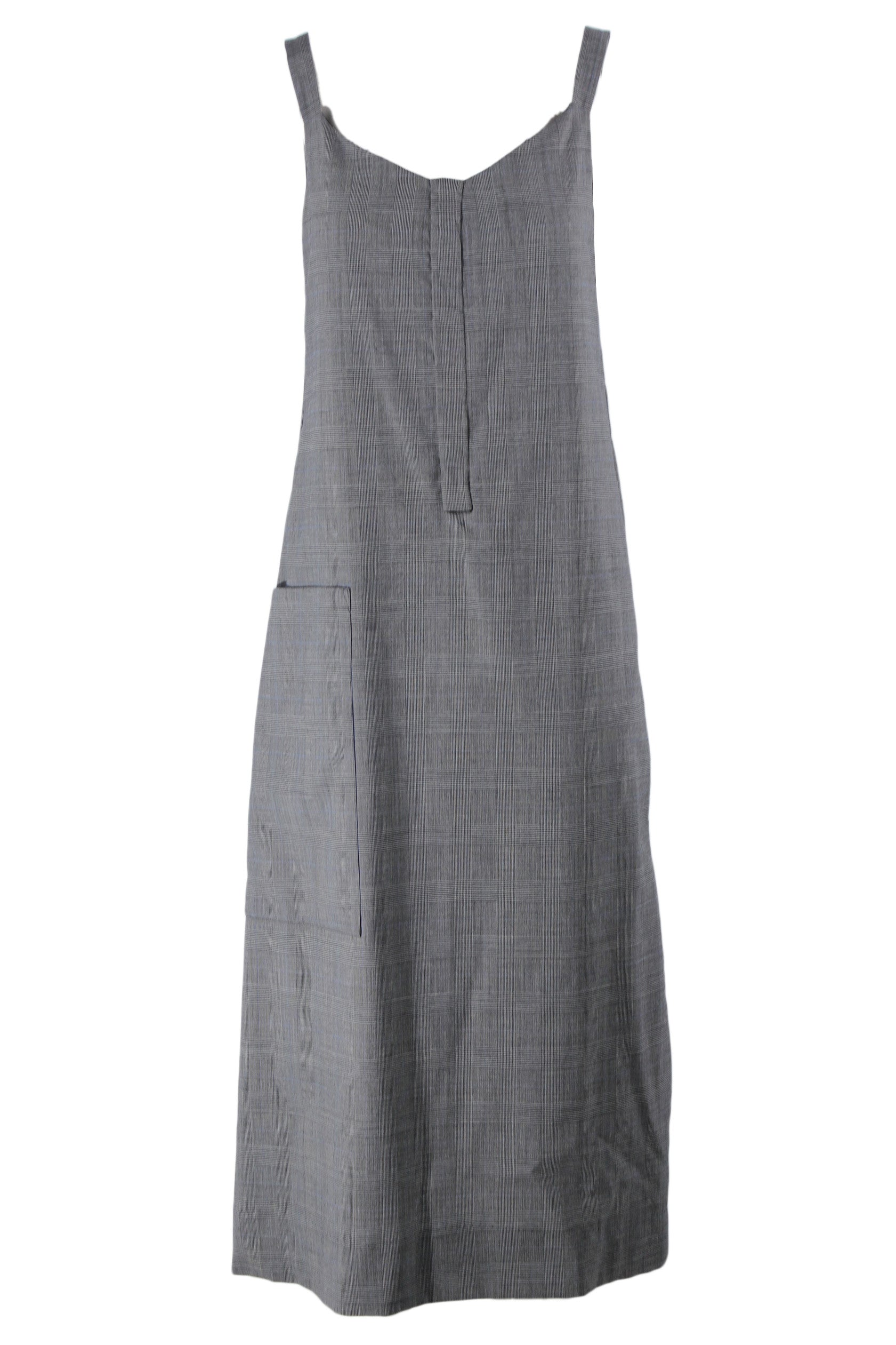 ellery grey plaid (with hints of light blue) sleeveless midi dress. featuring a-line silhouette, asymmetrical seam details, single side pocket, and v-neckline.