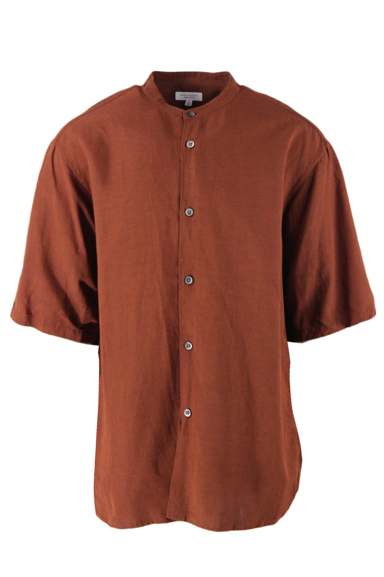 beauty&youth russet short sleeve button down shirt. features band collar and decorative back pleat in a boxy cut. iridescent silver button closure, rounded hem.