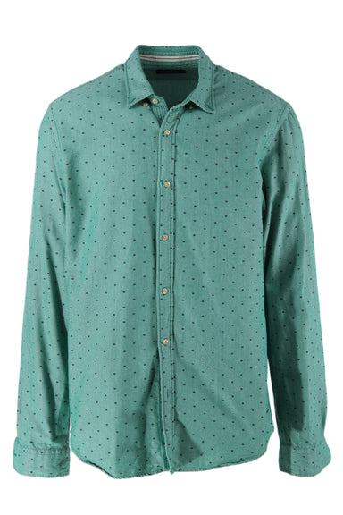 scotch & soda teal chambray long sleeve button down shirt. features black embroidered lip-shaped design throughout and button down collar in a regular cut.