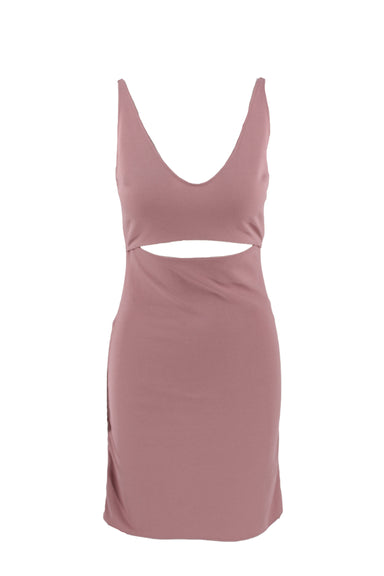 kith pink mini dress. features v-neckline, cutout below bust, adjustable ruching at sides and kith silver toned charm at back.