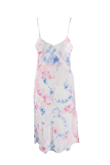 french connection multicolored maxi slip dress. features blue, pink and white tie dye print throughout, adjustable spaghetti straps and side slit.
