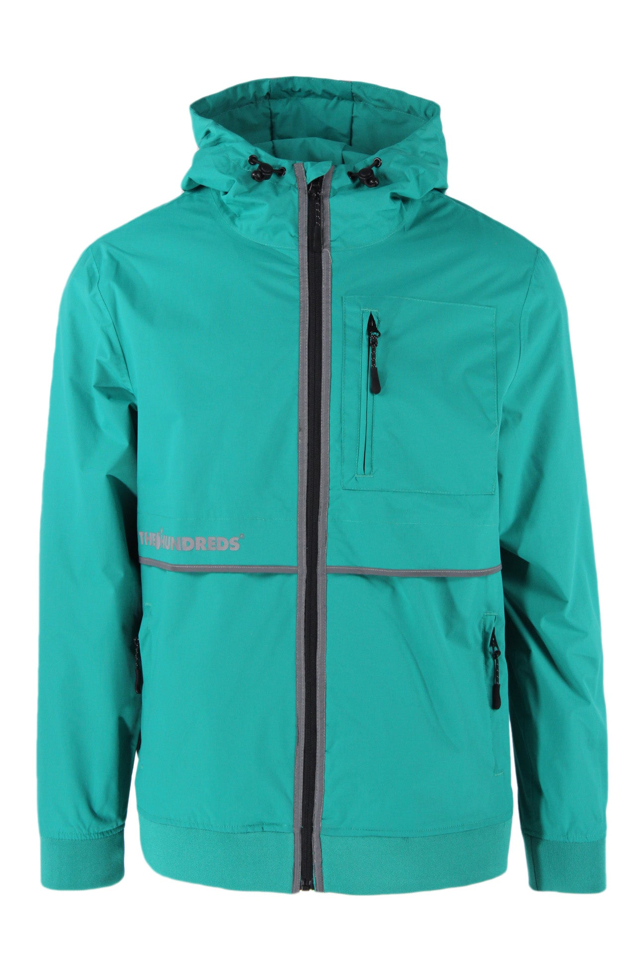 the hundreds turquoise zip up hooded 'shift' jacket. features logo printed at font, zip chest/hand pockets at sides, drawstrings at hood, with reflective accents at front and back. fully lined.