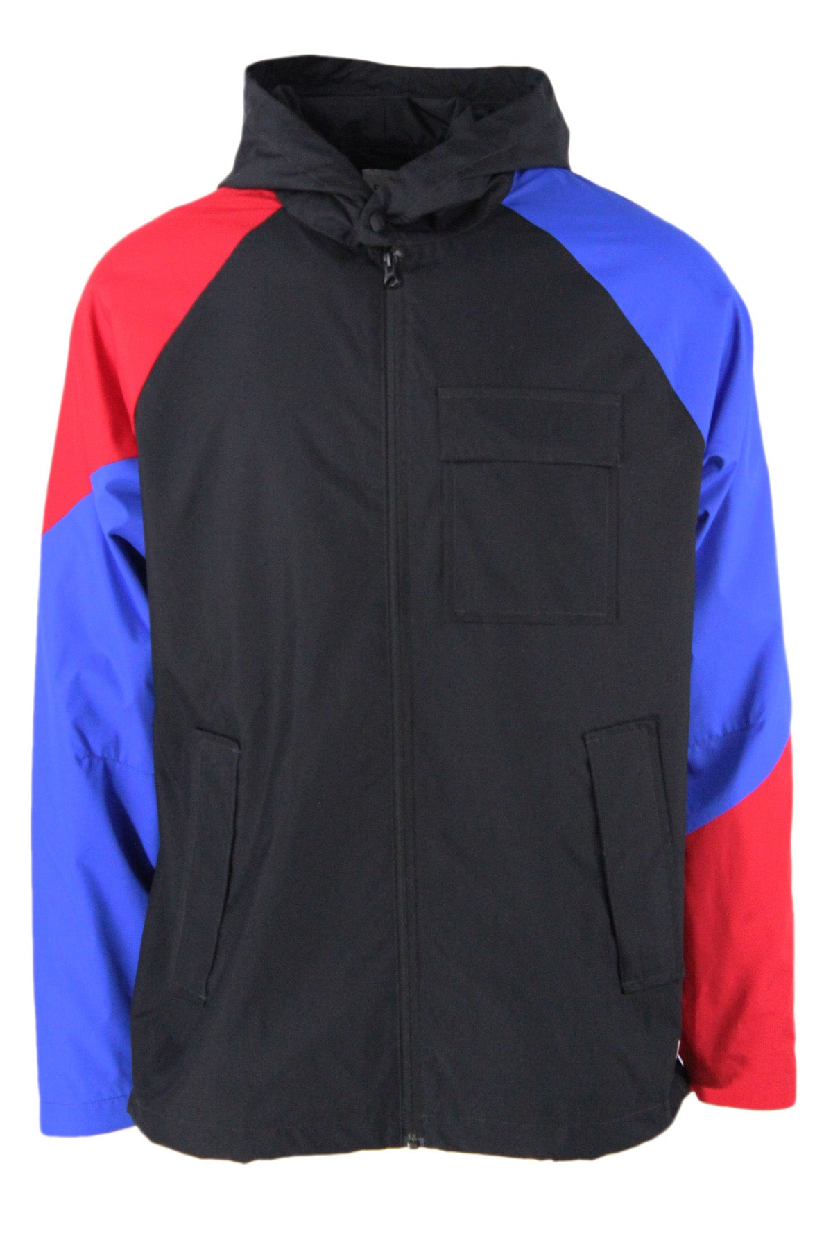 converse black/red/blue colorblock zip up hooded jacket. features logos printed at left shoulder/left side above hem with chest/hand pockets at sides. drawstrings at hood/hem with snaps at cuffs and collar. fully lined.