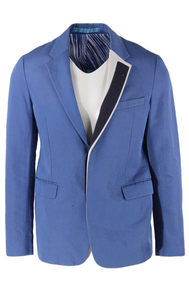 kenzo blue notch collar blazer. features a concealed button down closure, two interior pockets, two flap pockets, buttoned sleeve cuffs, & seam line detail. zebra print interior. single back vent. accent chest pocket.