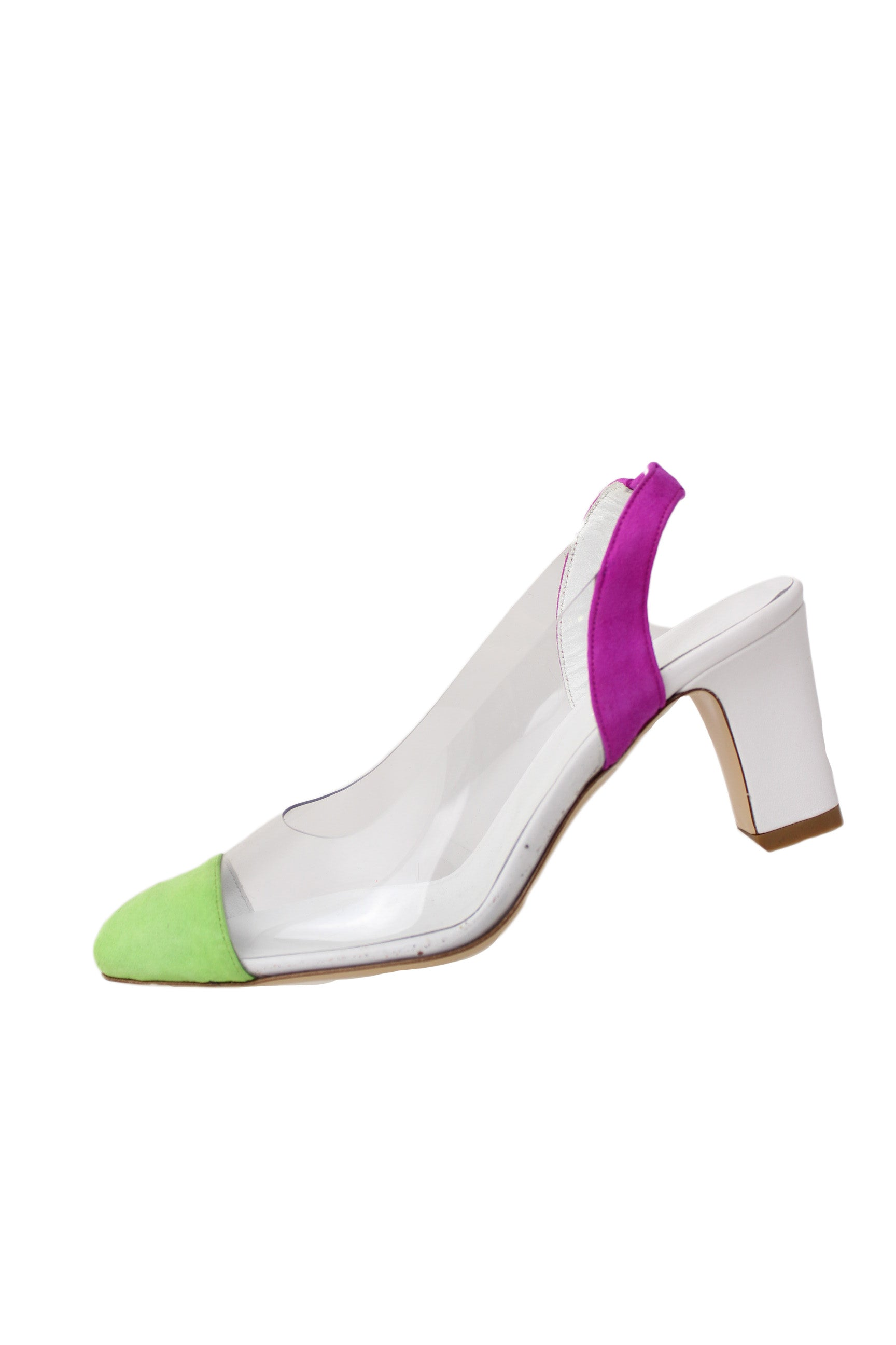 maryam nassir zadeh multicolored slingback heels. features green cap toe, violet suede counter with elastic stretch at center, clear upper and white leather heel and insole.
