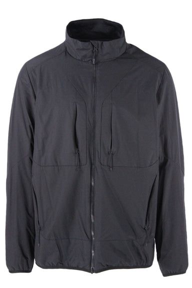 snow peak black jacket. features black exterior, exterior pockets with tonal zipper closures and hardware.