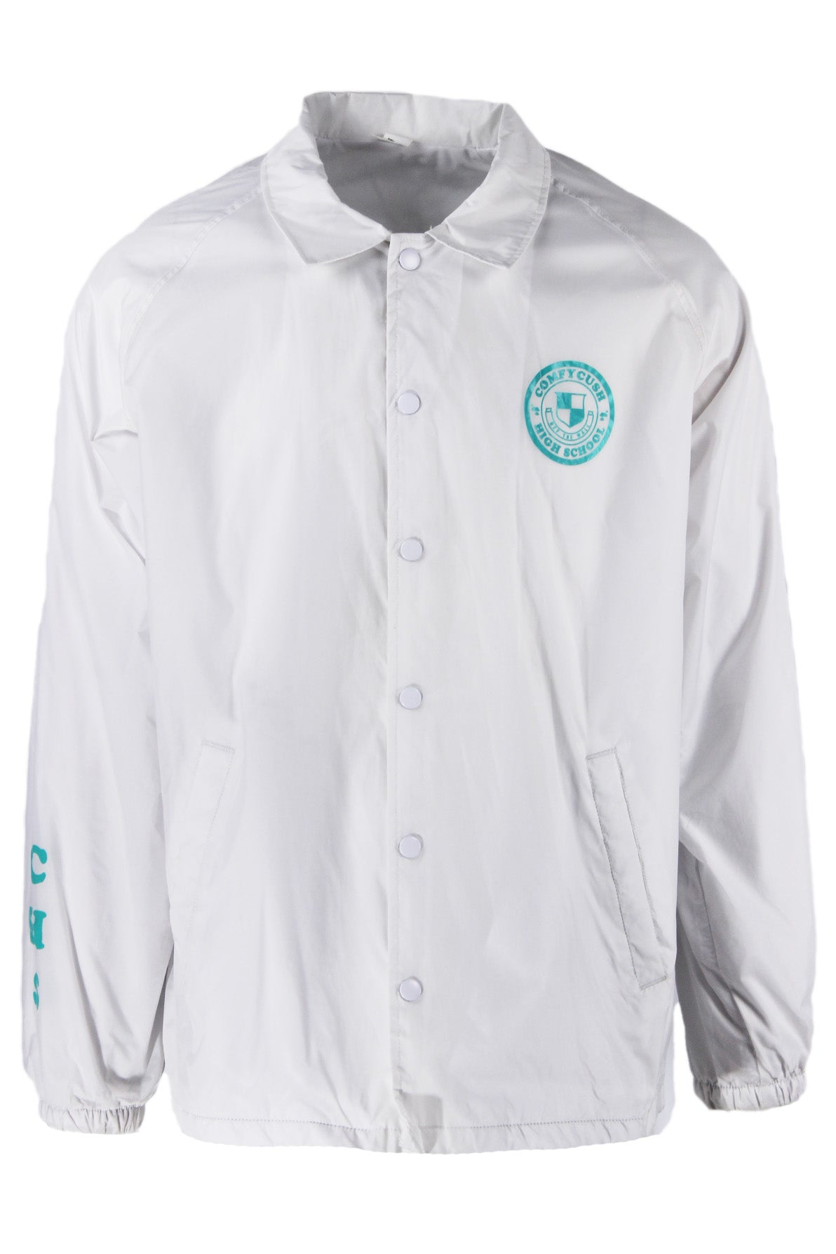 vans white snap up coach jacket. features branding at left breast, right sleeve and back. hand pockets at sides, elastic at cuffs, fully lined.