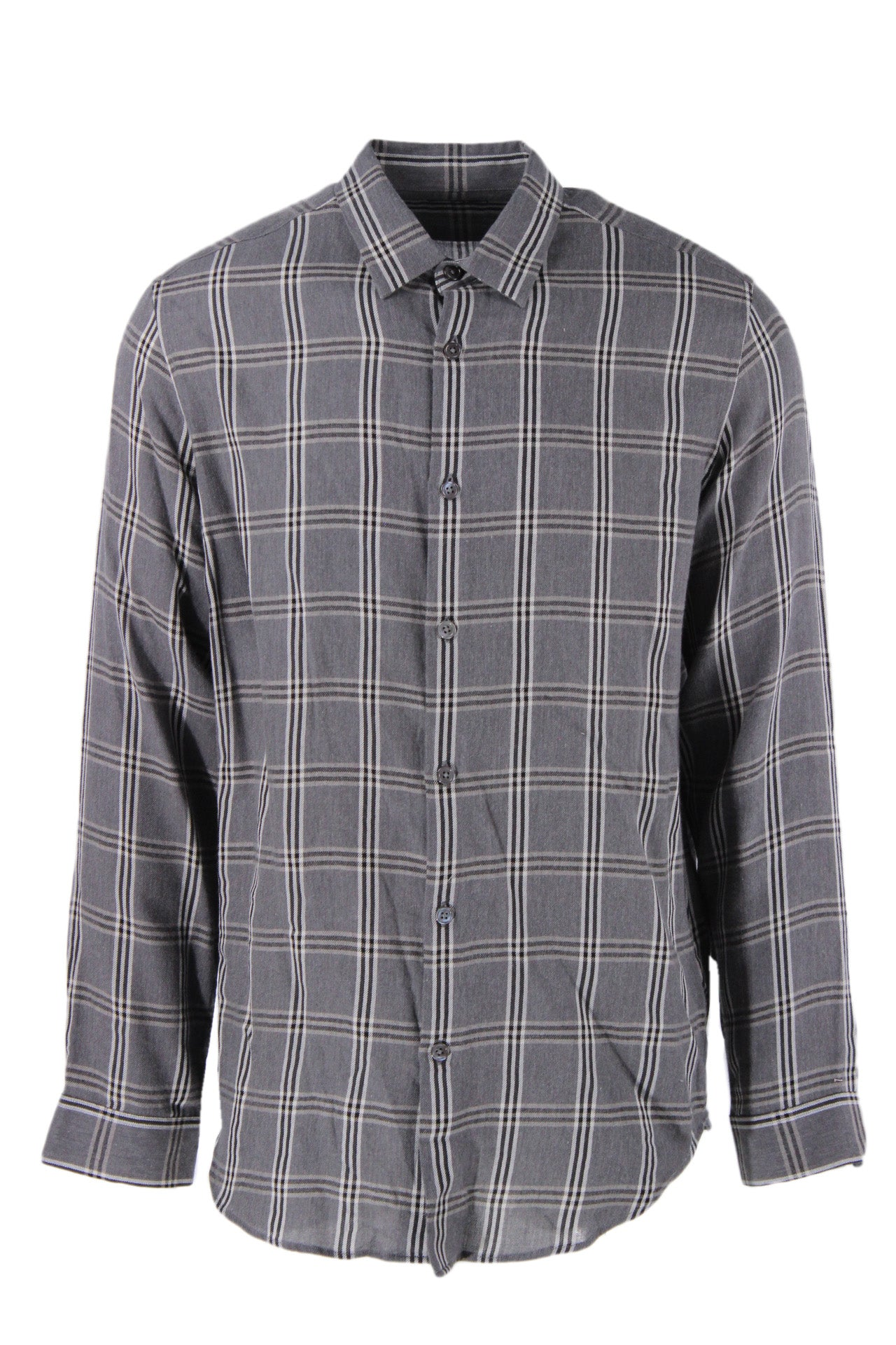 theory gray, black, and white 'tait lightweight plaid' long sleeve button down shirt. features minimal collar and rounded hemline in a relaxed cut.
