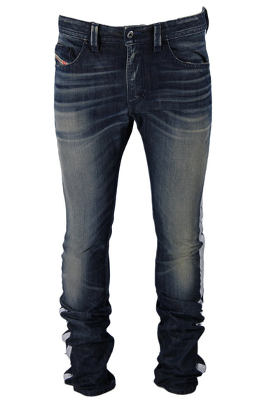 diesel dark blue jeans. features a silver metallic stripe at each side seam. distressed/faded design.