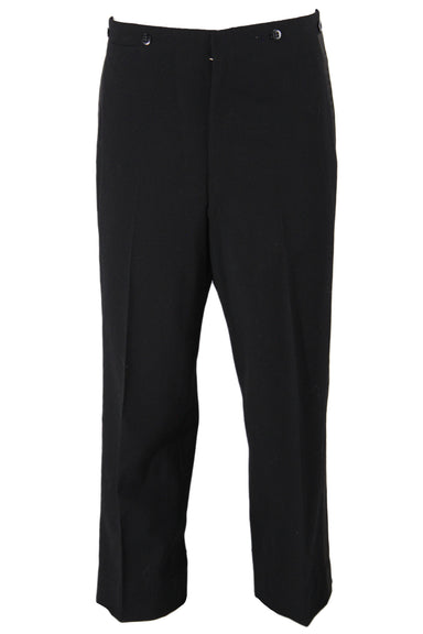 vintage men's black wool trousers. lightweight wool, featuring satin strips down sides of legs, and buttons around waist band.