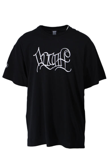 huf black graphic tee. features white handstyle graphic letter design on front & a ribbed round neckline.