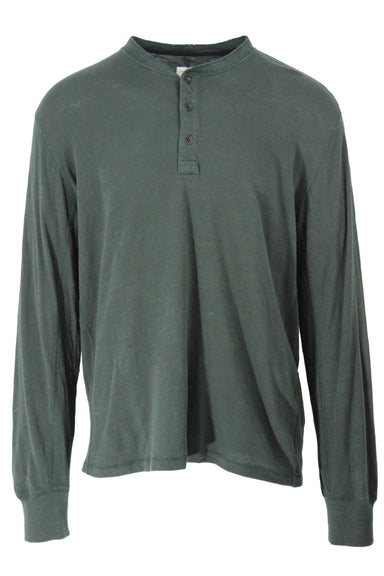 rag & bone hunter green long sleeve henley shirt. features logo stitched at left side of hem, three button placket, raw collar, and ribbed cuffs.