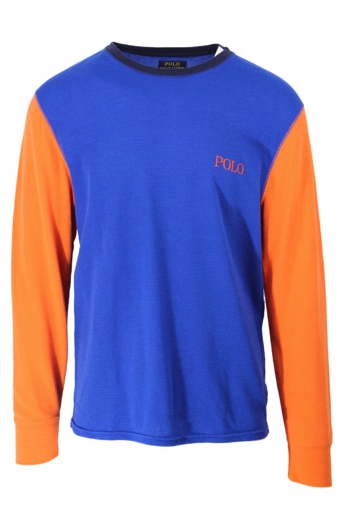 polo ralph lauren royal blue/orange long sleeve waffle knit shirt. features 'polo' logo embroidered at left breast with ribbed collar and cuffs.