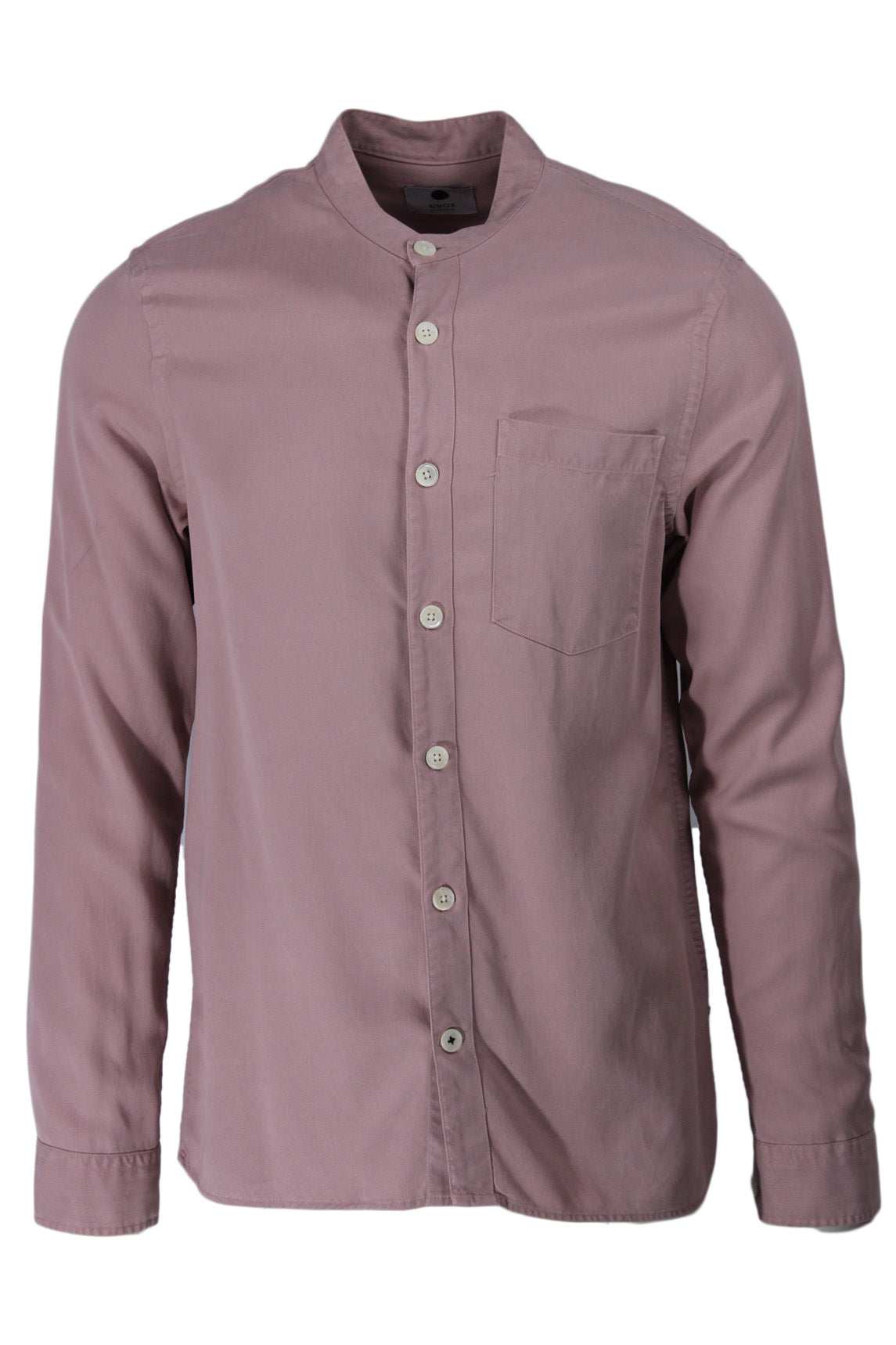 nn07 dusty rose long sleeve 'gustave' collarless shirt. features logo tab at left side of hem with pocket at left breast.