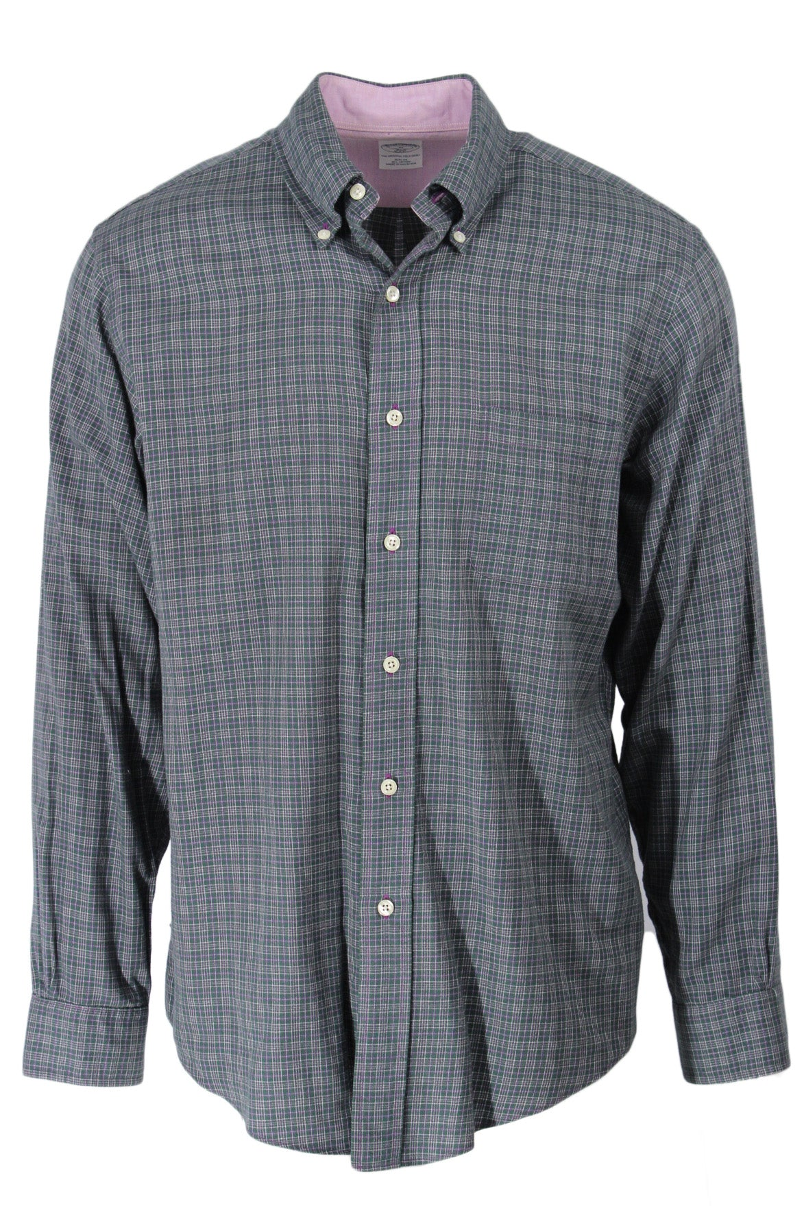 brooks brothers plaid button down dress shirt. features green plaid exterior, long sleeves, purple stitching and white buttons.