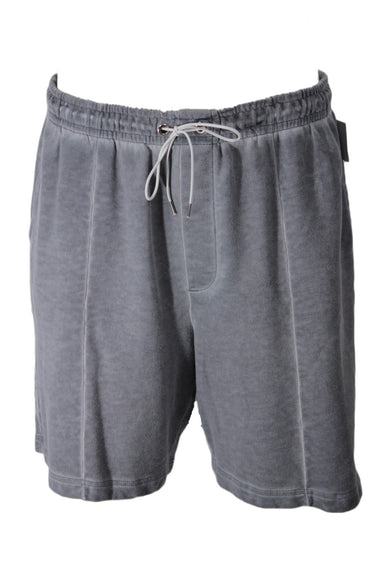 urban outfitters sun bleached grey shorts. featuring lightening & darkening of fabric throughout, elastic waistband with drawstring, 3 pockets, front seam details, and silver hardware.