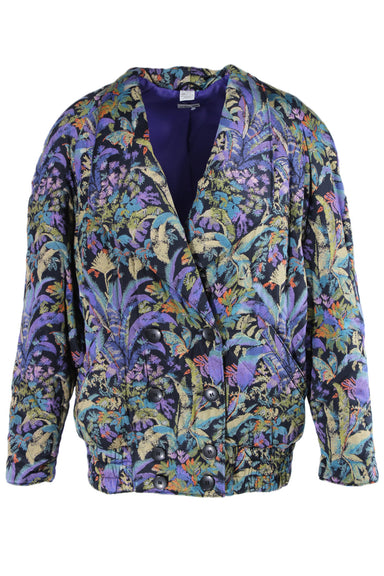 vintage light purple multicolor short coat. features a double breast, side pockets at the waist, and a long decollete line. tropical multicolor design throughout.