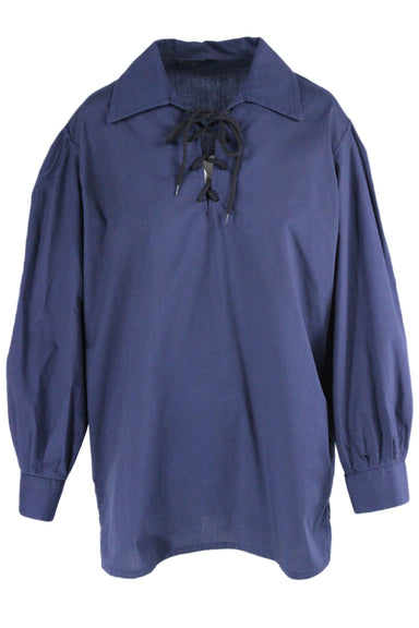 clann crois navy blue top. features a collar neckline, a lace up fastening at bust & neckline, & buttoned sleeve cuffs.