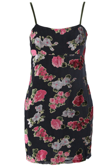 jill stuart black floral print spaghetti strap dress. features olive green straps & velvet textured rose floral print throughout. concealed side zipper closure & lined interior.