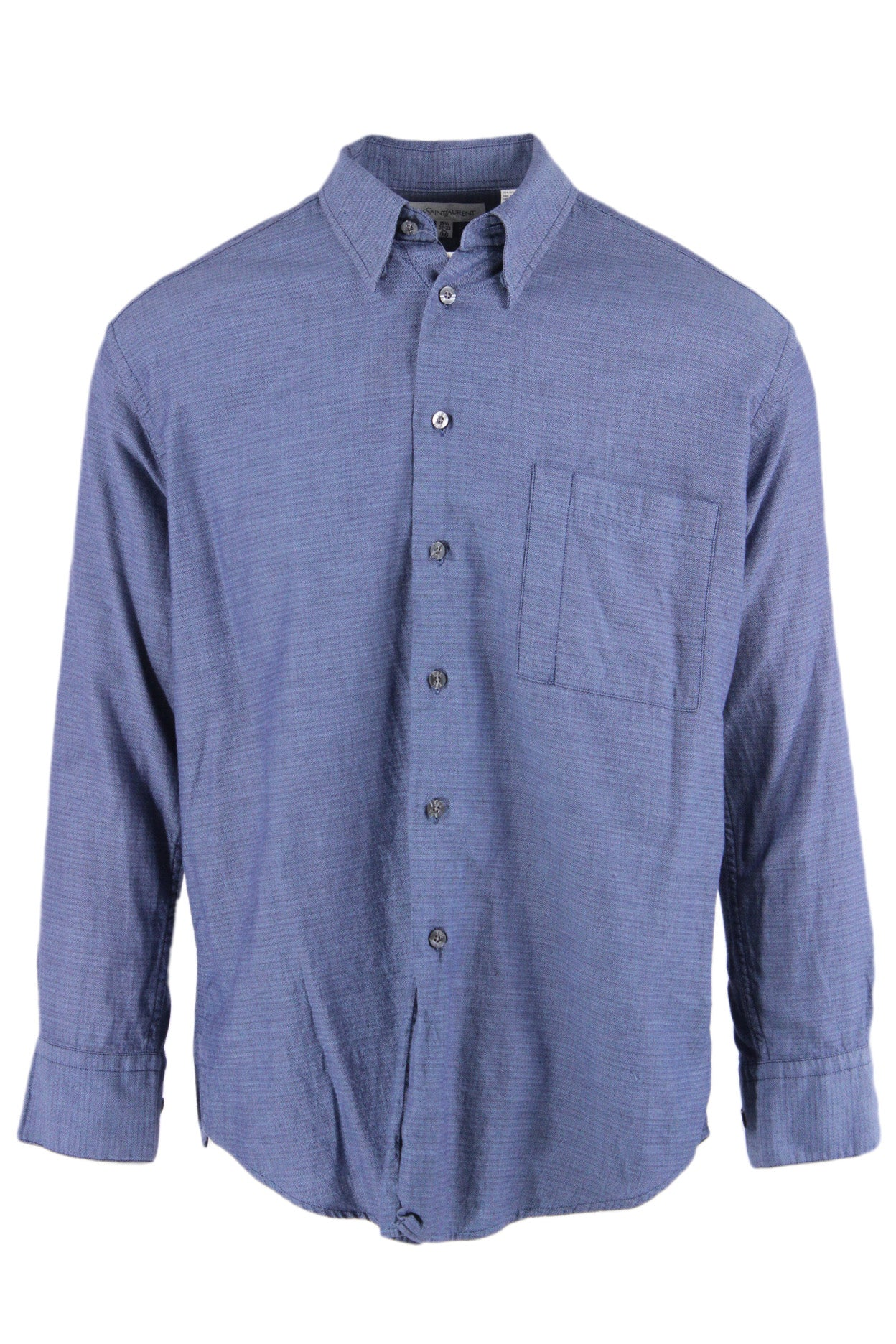 yves saint laurent blue long sleeve print collar shirt. features a button down closure, buttoned sleeve cuffs, & a chest pocket.