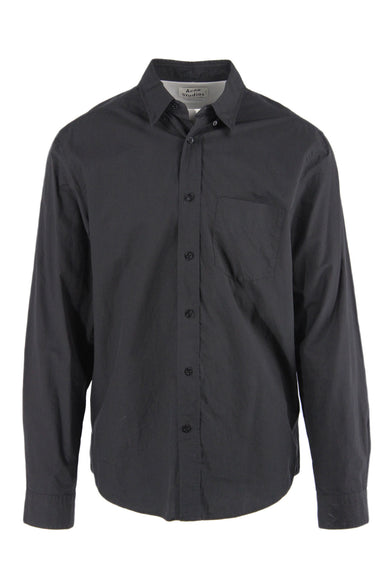 acne studios black 'classic fit' collared shirt. featuring monochromatic button down closure, wrist cuffs with button closure, single chest pocket, curved bottom hem, and white contrast tab at back pleat detail.