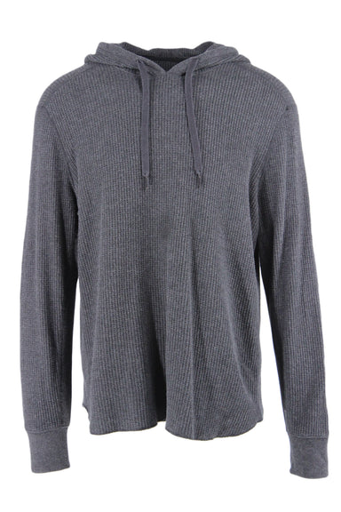 rag & bone charcoal grey waffle knit lightweight hoodie, featuring rib knit panels at sides, arms, & wrists ; drawstring at neck; and a relaxed fit.