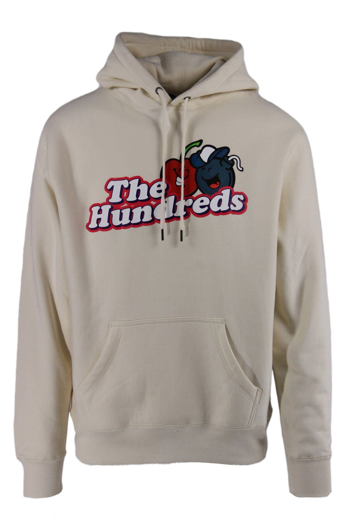 the hundreds off-white pullover hoodie. features 'the hundreds' logo graphic printed at chest, kangaroo pouch pocket at front, and drawstrings at hood.