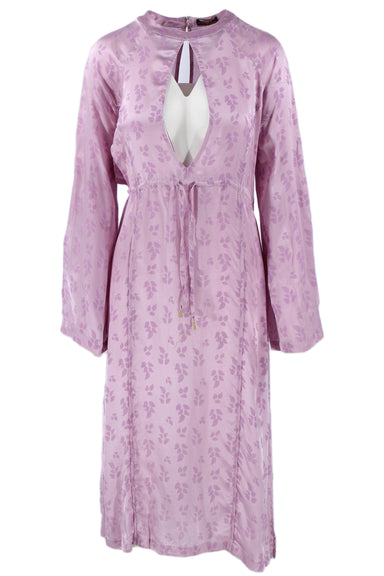 description: a peace treaty lilac dress. featuring a drawstring waist and purple floral detailing overall.