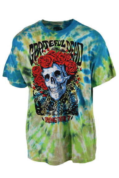 grateful dead blue/green/multi tie dye cotton t-shirt. features 'grateful dead spring '77' graphic printed at front with ribbed collar.