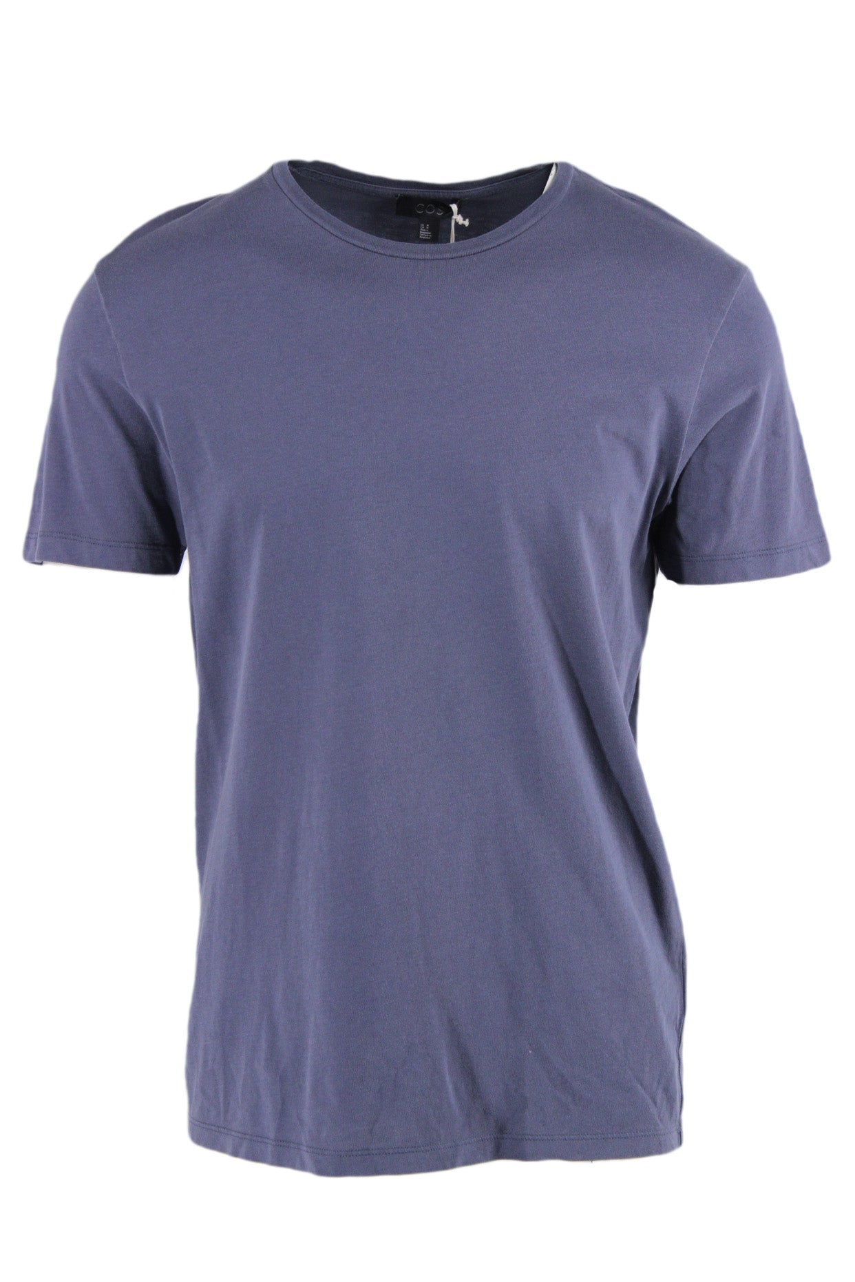 cos blue tinted gray short sleeve tee. features a ribbed round neckline & a regular cut.