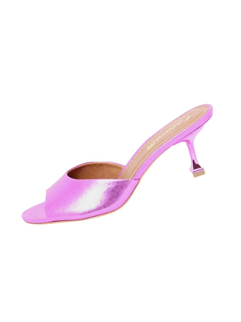"l'intervalle purple metallic pumps. features slip on open toed with 3"" heel"