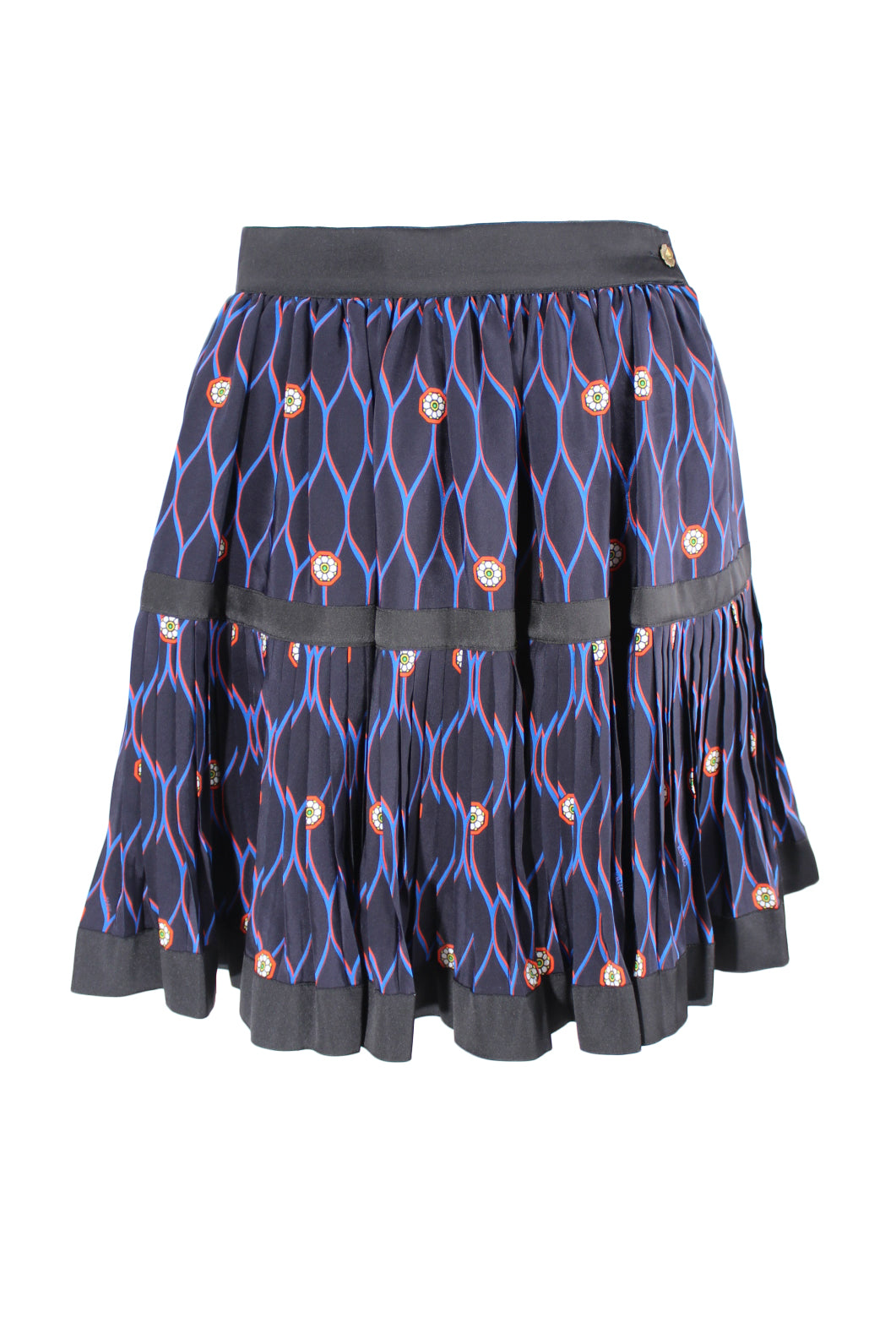 kenzo x h&m navy & black jewel print pleated skirt. featuring black ribbon tiered banding, and concealed back zip & gold flower button closure.