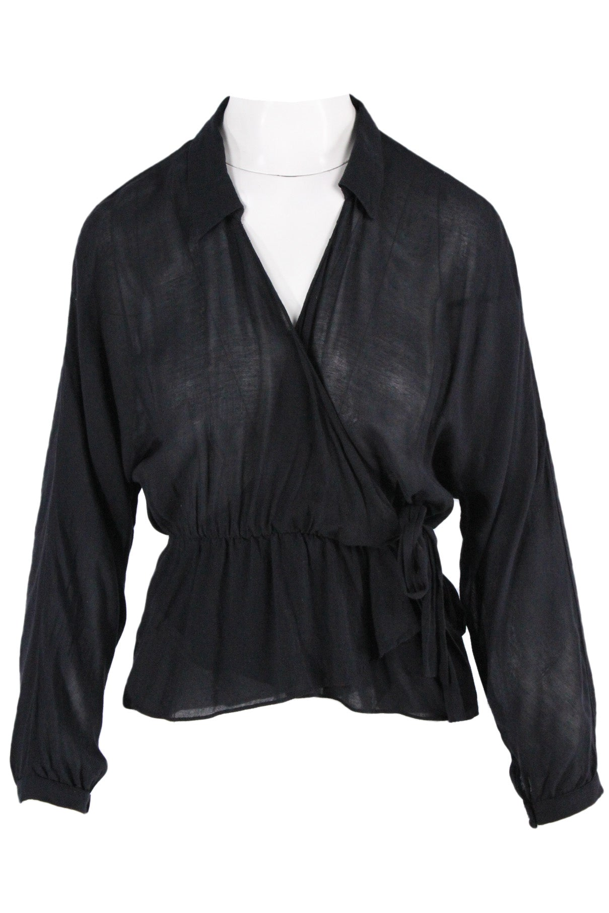 zara black sheer dolman sleeve blouse. featuring collared v-neckline, wrist cuffs with button closure, and faux wrap silhouette with elastic waist and  tie at side.