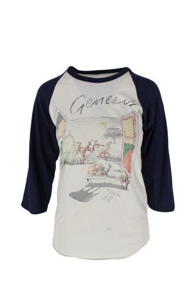 vintage genesis band tee. features baseball tee style silhouette, 3/4 navy sleeves, multicolored graphics on both sides and raw hem.