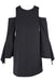 tibi black cold shoulder dress. features a round neckline, slit bell sleeves, & a gold tone zipper closure at back.