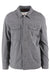 all-son aqua greyish blue button up shirt jacket. features button flap pockets at chest and hand pockets at sides.