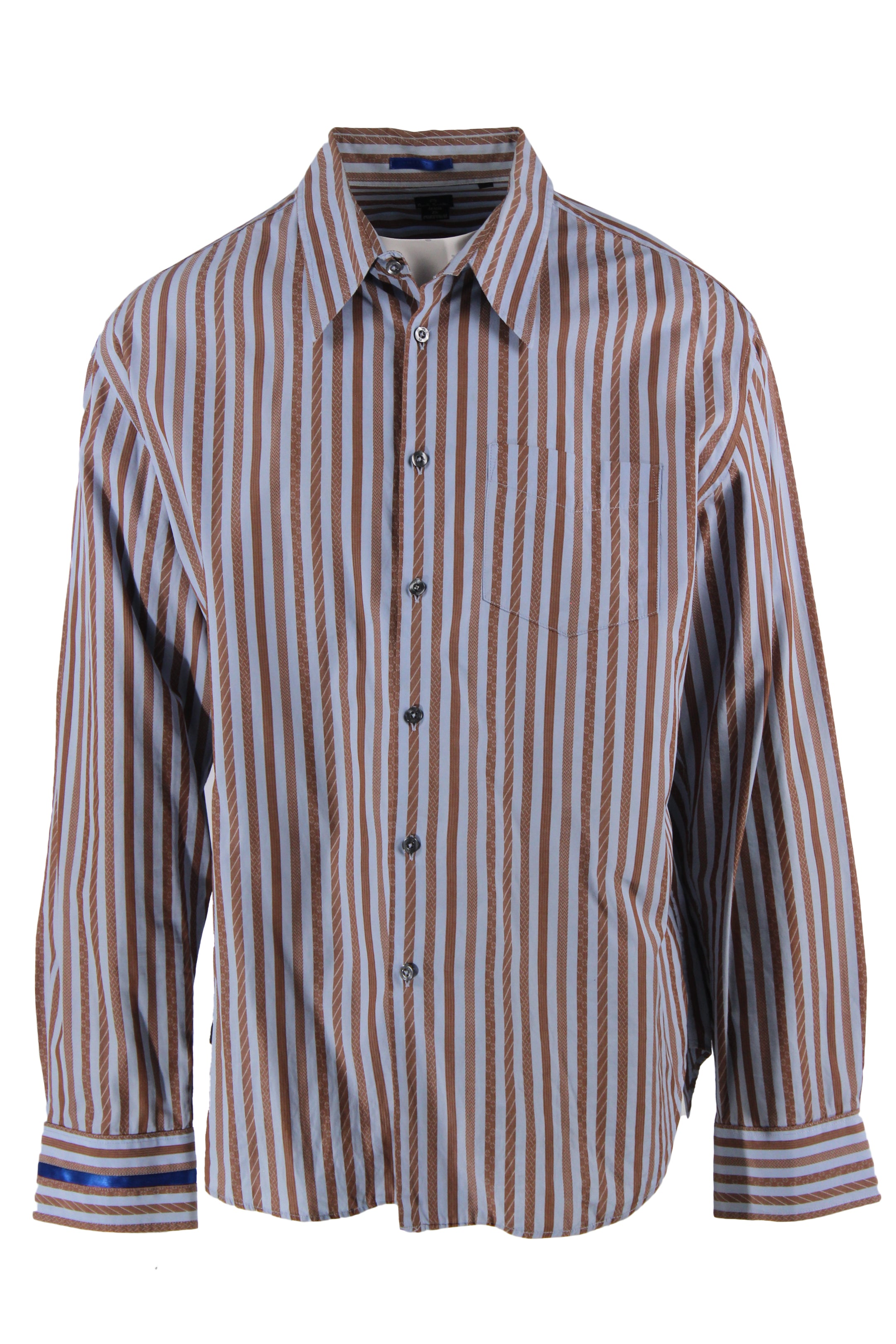 paul smith light blue/brown vertical striped long sleeve button up shirt. features pockets at left breast with royal blue ribbon accent stripe at right cuff.