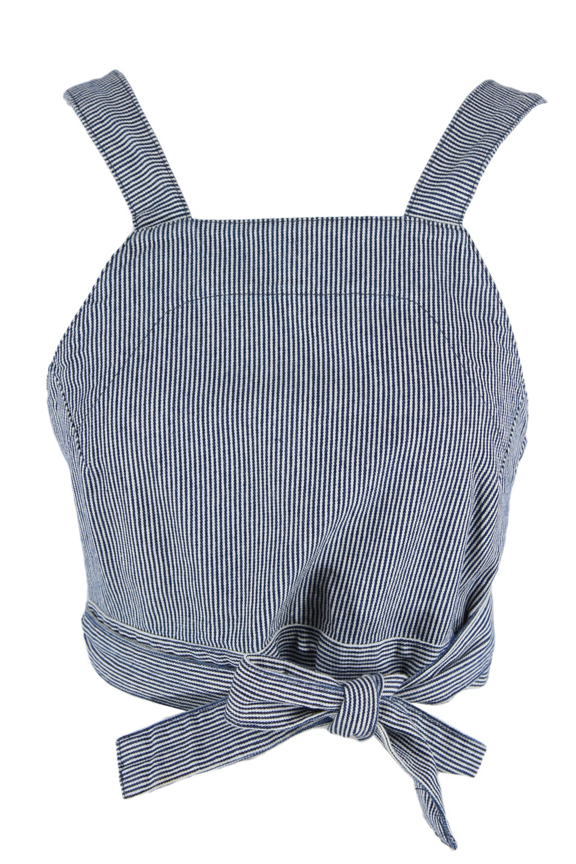 carleen blue striped crop top. features blue striped exterior and open back with tie closure.