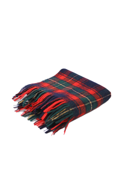 vintage pendleton red, navy, evergreen, and pale yellow plaid wool scarf. features pure wool tartan plaid and fringed detail.