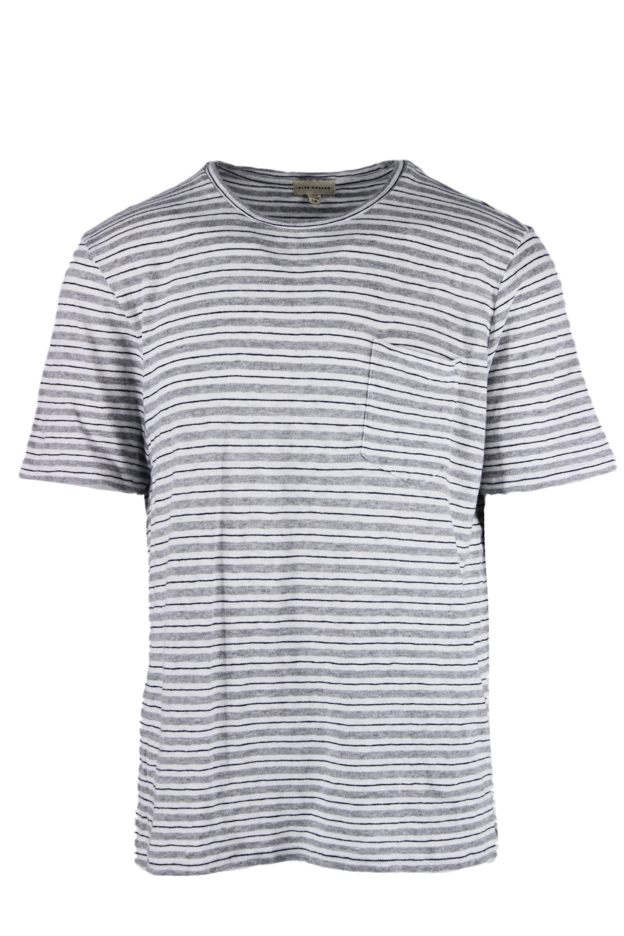 club monaco white/grey/midnight striped t-shirt. features pocket at left breast, ribbed collar, and side slits at hem.