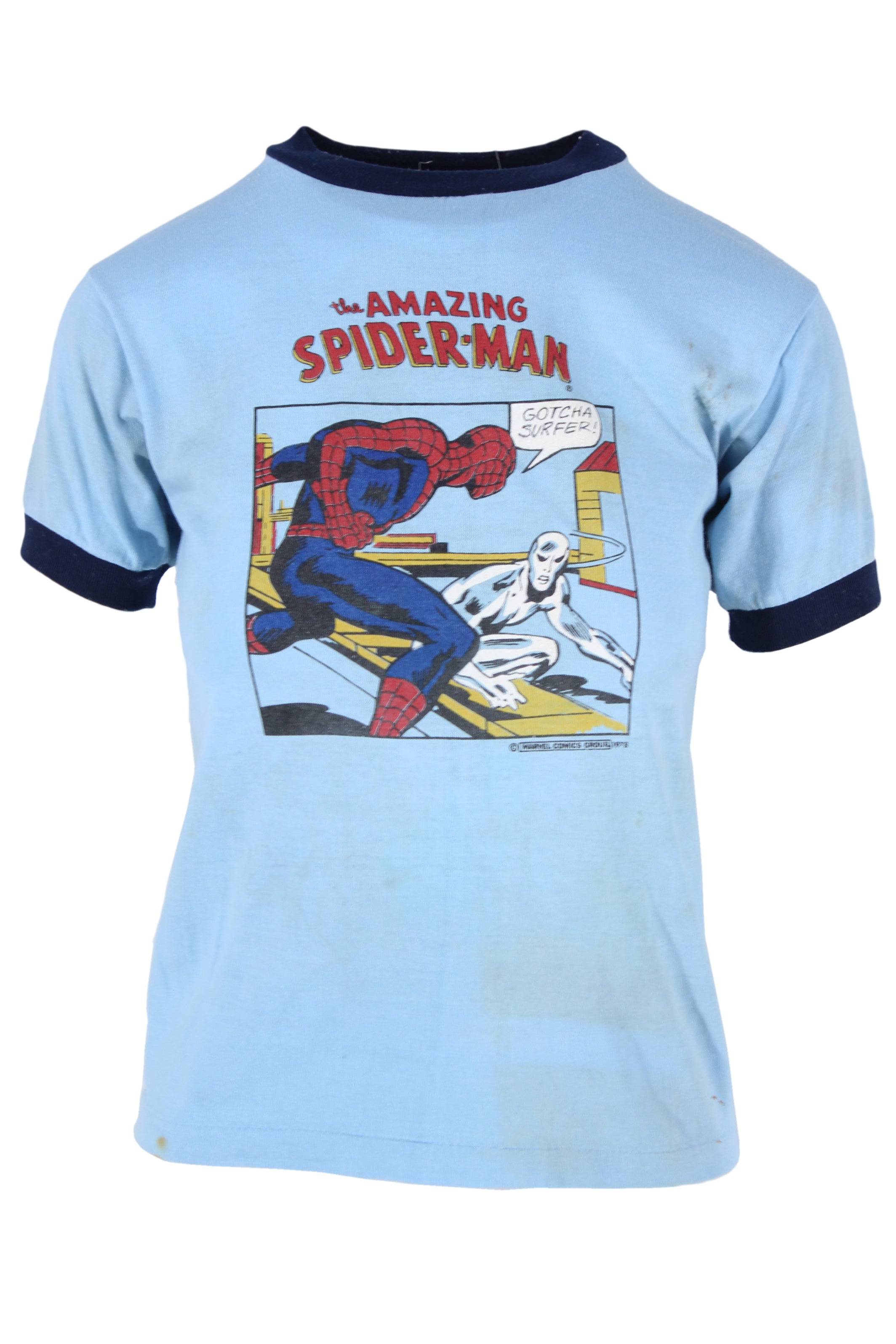 vintage blue 1978 spiderman ringer graphic tee. features marvel comic graphic. staining & discoloration throughout - please see pictures.