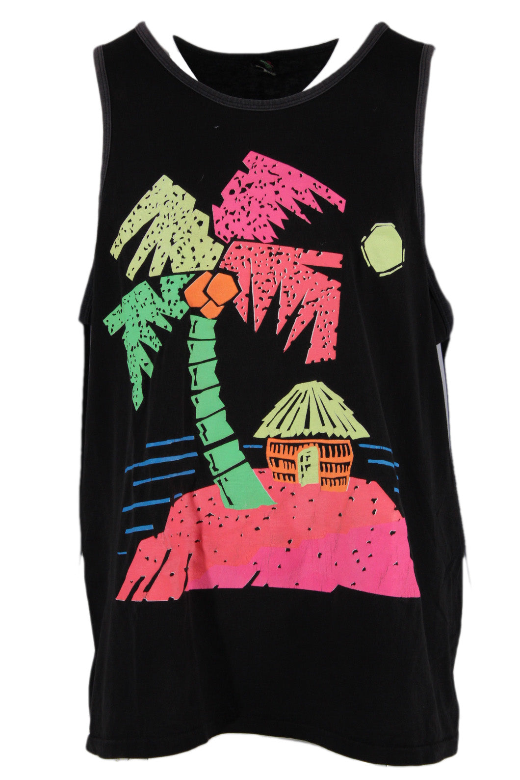 vintage daffy waterwear faded black cotton tank top. features neon beach graphic printed at front.