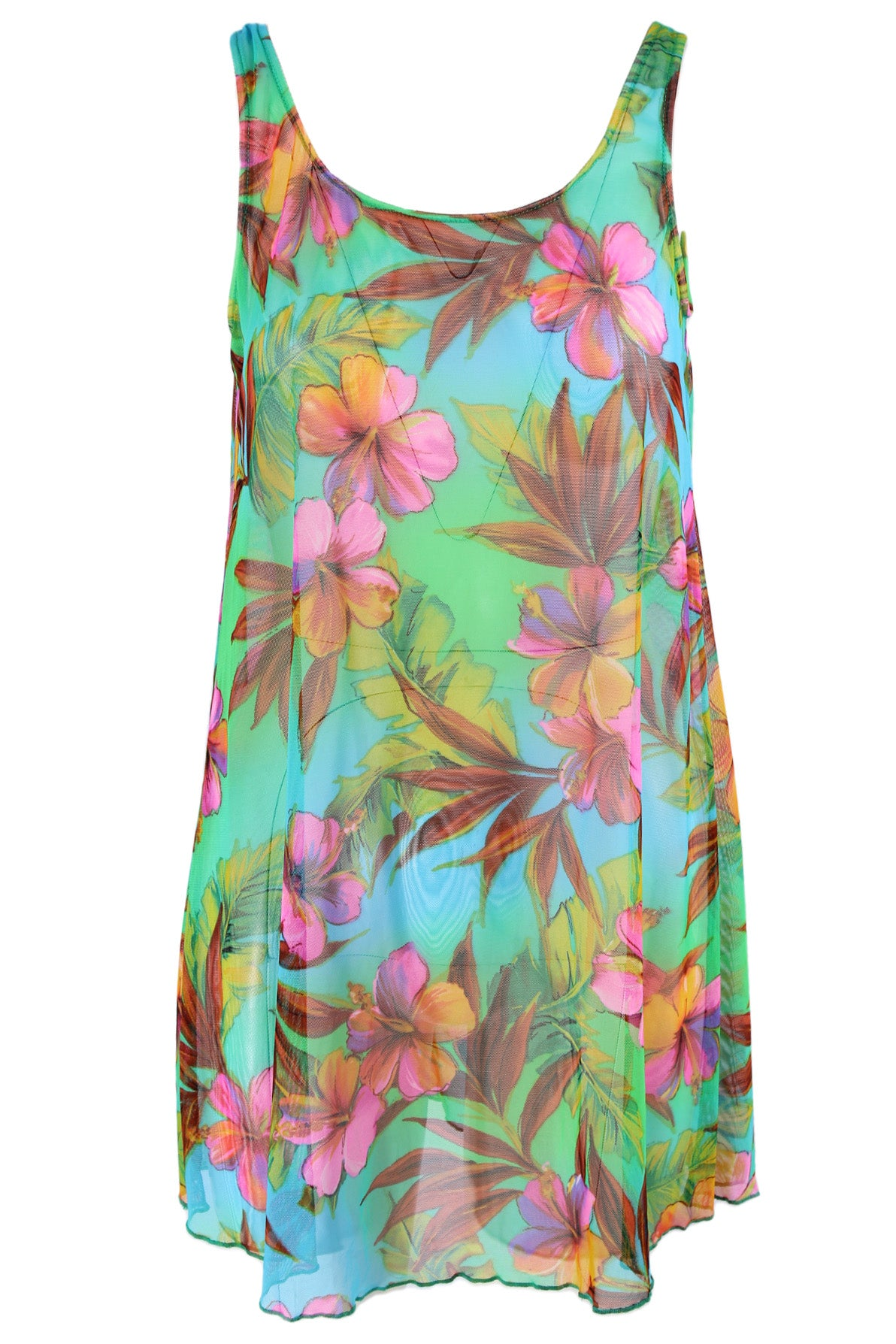 unlabeled multicolored floral dress. features multicolor exterior with floral print throughout, round neckline and relaxed fit.