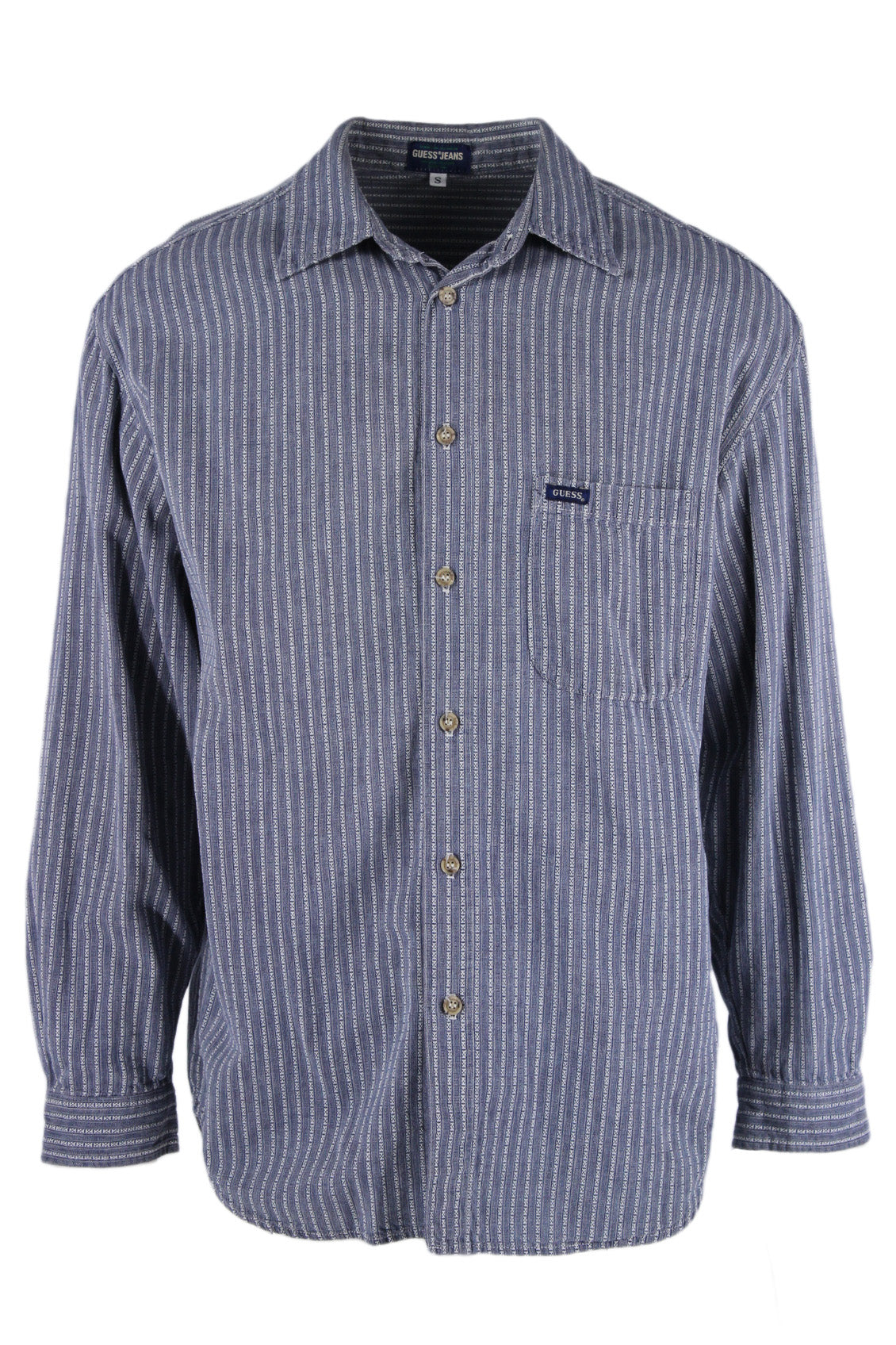 guess jeans blue/white vertical stripe button up long sleeve shirt. features 'guess' logo tag on left breast pocket.