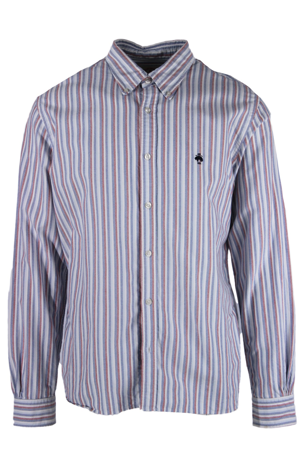 brooks brothers red fleece multicolored striped button down shirt. features multicolor striped exterior, long sleeves and exposed white iridescent button closures.